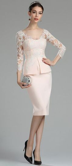 eDressit Pink and White Lace Mother of the Bride/Groom Dress