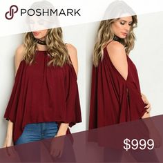 🍷cold shoulder Blouse • wine color •  🍷 GET READY FOR FALL!! Rayon, spandex material, smoke free home, has straps.   ❌Price firm unless bundled. No trades. Tops Blouses