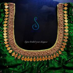 Stunning green color bridal designer blouse with hand embroidery kasu work on neckline. To get your outfit customized visit at Chenna Kids Blouse Designs, Hand Work Blouse Design, Simple Blouse Designs, Stylish Blouse Design, Bridal Blouse Designs, Blouse Neck Designs, Hand Designs, Aari Work Blouse, Pattu Saree Blouse Designs