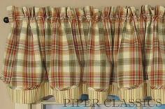 Country Valance Curtains   Lemon Pepper Layered Valance   Piper Classics