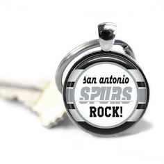 San Antonio Spurs Glass Cabochon Silver key by JnJGiftsnCrafts