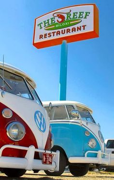 couple T1 VW buses on the Mississippi gulf coast - The Reef Restaurant in Biloxi Volkswagen Bus ☮ #VWBus ☮ | re-pinned by www.wfpcc.com