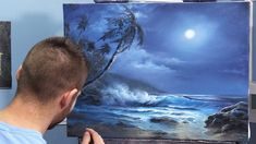 Watch an artistic moonlit seascape being crafted in oil paint. With just a bit of practice you can be happy with your trees, ocean waves, clouds and entire oil painting! For full video and DVD painting tutorial lessons and to order Kevin's signature art b Canvas Painting Tutorials, Painting Videos, Painting Techniques, Kevin Hill Paintings, Bob Ross Paintings, Seascape Paintings, Landscape Paintings, Acrylic Painting Lessons, Ocean Scenes