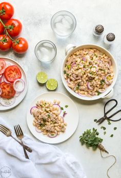 Tuna White Bean Salad with Red Wine vinegar dressing, no mayo! It's packed full of protein and contains, tuna, white beans and fresh parsley.