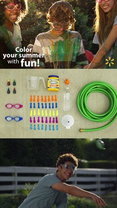 """Super-messy & colorful outdoor summer fun! Paint Balloons are a budget-friendly and easy homemade project, perfect for the backyard on a hot summer day. Kids will love mixing up the ingredients and having colorful """"splash battles"""" on the lawn. All you need are water balloons, a few simple kitchen ingredients (food dye, corn starch & water) and an outdoor space to play. Check out this and lots of other fun summertime DIY activity ideas at the link. Paint Balloons, Water Balloons, Activity Games, Fun Games, Activity Ideas, Outdoor Games, Outdoor Fun, Summer Kids, Summer Parties"""