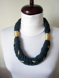 Green Gold Necklace chunky Textile necklaces Statement Scarf Necklace Simple Braided necklace Emerald Jewelry Fabric necklace xxl Jewelry