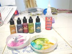 glazing with alcohol inks and liquid polymer clay by quinntillion, via Flickr