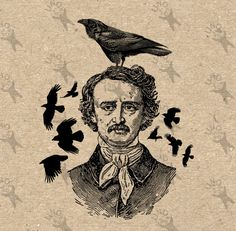 Vintage retro drawing image Halloween Poe Raven Crow Instant Download Digital printable clipart graphic iron on transfer burlap decor 300dpi by UnoPrint on Etsy
