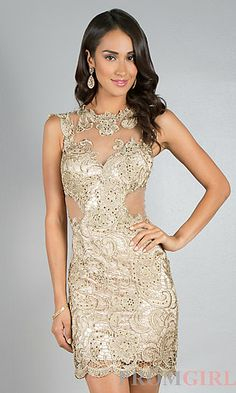 Wedding after party dress Short Sleeveless Lace Dress by Dave and Johnny at PromGirl.com