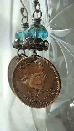Repurposed Vintage Coins British 1939 Farthing by CobwebPalace