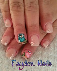 Búhos Owl Nail Art, Owl Nails, Cute Nail Art, Cute Nails, Spring Nail Art, Nail Designs Spring, Cute Nail Designs, Cartoon Nail Designs, Finger