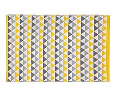 Alfombra de fibra sintética Mindi, amarillo y gris - 120x180 cm