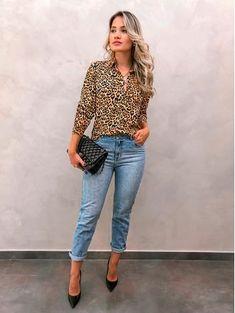 972b8426d Animal print tendência outono inverno 2019 Look Com Calça Pantalona, Look  Calça Preta, Look