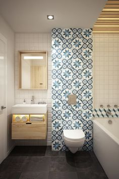Decoration:Bathroom Design Ideas With Funky Wallpaper And White Tile Ceramic And Toilet Also Bathtub Plus Wood Bath Vanity Along With Washbasin Plus Faucet And Mirror As Well As Dark Flooring And This Modern Bathroom Design Ideas Elegant Home Design With Stylish Wood Decorations to Inspire You