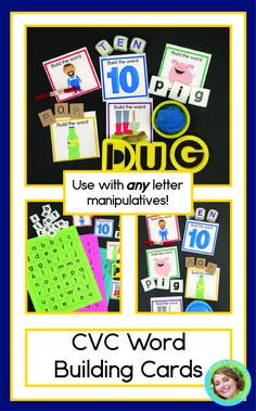 Kindergarten and preschool children need lots of practice sounding out words, and these adorable CVC cards make it easy and fun!  Skip the worksheets, give your students hands on learning activities by pairing your favorite letter manipulatives with these beautiful self checking cards.  There are 90 two sided cards - 18 for each vowel, so there's plenty for your whole class!   Add them to your literacy centers today and watch your flourish! Abc Learning, Learning Activities, Cvc Words, Sight Words, Sounding Out Words, Short Vowel Sounds, Word Building, Short Vowels, Reading Passages
