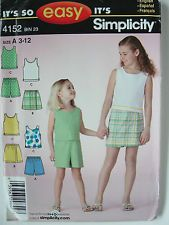 Simplicity Pattern #4152 It's So Easy Girls Shorts Skirts Tops Sizes 3-12