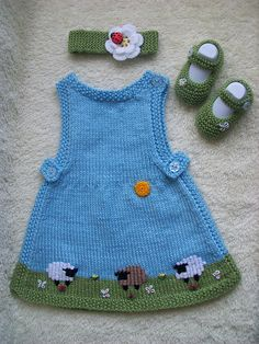 Delicious Baby Set! #knit #free_pattern for dress + Mary Jane Booties by Lucie Sinkler http://www.ravelry.com/patterns/library/mary-jane-booties-5
