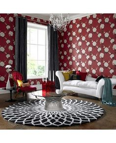 Wallpaper decoration truly works to create the stunning home interior. For years, wallpaper had become the clear evidence that a house had not been redecorated Red Wallpaper, Wallpaper Decor, Home Wallpaper, Wallpaper Designs, Graphic Wallpaper, Living Room Red, Living Room Decor, Concept Home, Red Rooms