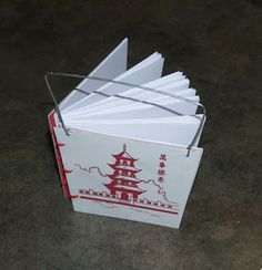 """365: Make a Book a Day: Book 322 - """"Chinese Take-Out"""" - Coptic Bound Book/Jotter From a Recycled Chinese Food Container"""