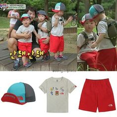 Instagram photo by song.triplets - The triplets' trekking outfit in ep 40 are from The North Face - Kids Baseball Mesh Cap in blue, price: KRW 35,000 (currently out of stock) - K's Sweet Gear S/SR/Tee in oatmeal, price: KRW 35,000 - K's Easy Short in hot red, price: KRW 40,000. #thereturnofsuperman #supermanreturns #varietyshow #tvshow #toddler #supermanisback #songilkook #korean #triplets #kids #daehan #minguk #manse #daehanmingukmanse #송일국 #슈퍼맨이돌아왔다 #대한#민국#만세 #대한민국만세