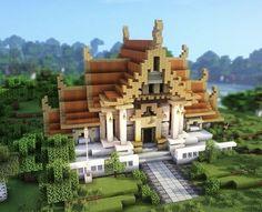 Minecraft Palace, Minecraft Temple, Minecraft Castle, Cute Minecraft Houses, Minecraft House Designs, Amazing Minecraft, Minecraft Blueprints, Minecraft Creations, Minecraft Structures