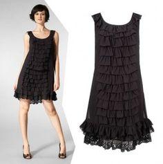 Black ruffled day dress