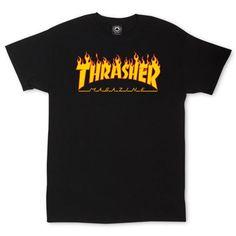 Thrasher Magazine Flame Logo Schwarzes T-Shirt - Roupas e moda - Frau Thrasher Outfit, Thrasher Magazine, Tee Shirt Trasher, Shirt Outfit, Black Tees, Black T Shirt, Thrasher Flame, Skateboard Shirts, Teen Fashion