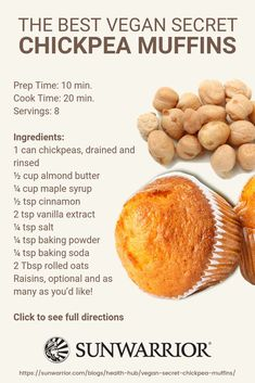 The Best Vegan Secret Chickpea Muffins The best kept secrets are those . - The Best Vegan Secret Chickpea Muffins The best kept secrets are those that … # best kept - Healthy Baking, Healthy Snacks, Healthy Recipes, Yummy Vegan Snacks, High Protein Vegan Recipes, Healthy Vegan Desserts, Alkaline Recipes, Vegan Lunches, Diet Desserts