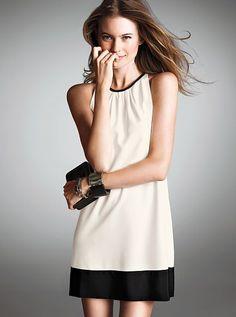 Pleated Colorblock Shift Dress