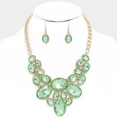 Mint Green Oval Crystal Rhinestone Bib Necklace Set