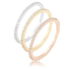 3/4 Carat Diamond 14K White, Yellow or Rose Gold Endless Eternity Bands