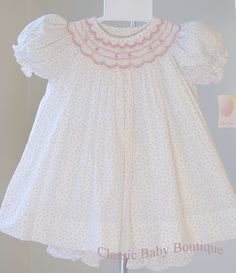 Clothes, Shoes & Accessories Babygrows & Playsuits Pink Gingham Bow Velour Smocked Babygrow By Dandelion Easy To Repair