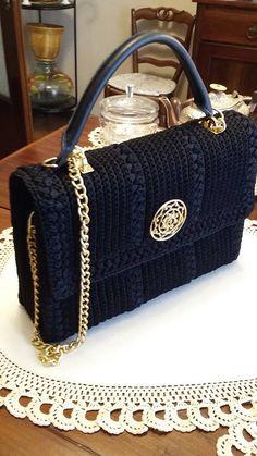 Elegant black Crochet bag