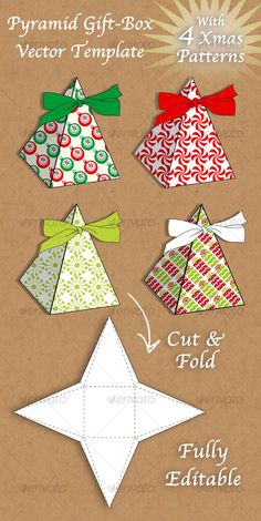 Buy Christmas pyramid gift box by EfratE on GraphicRiver. Fun and festive Christmas pyramid gift box vector template with 4 patterns for your choise. Christmas Gift Box Template, Holiday Gift Tags, Christmas Templates, Holiday Gifts, Christmas Gift Boxes, Candy Box Template, Diy Gift Box Template, Festa Pj Masks, Tiny Gifts