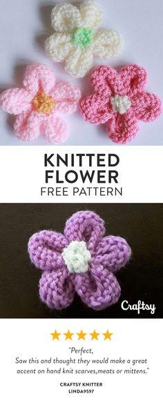Knit Flowers Free Pattern Knitted Patterns Pinterest Knit