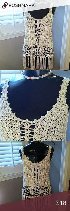 """🎉HOST PICK!🎉 Anthro off-white crochet top Med Crocheted with fringe at bottom. Choker sold under separate listing, no longer available. Soft, almost shiny smooth yarn. Measured laying flat w/o considering stretch. Armpit to armpit is approx 18"""". (stretchy with lots of give since it's a loose crochet) Same width all the way down. Length from top of strap to bottom of fringe is approx 29"""". Entro for Anthropologie Anthropologie Swim"""