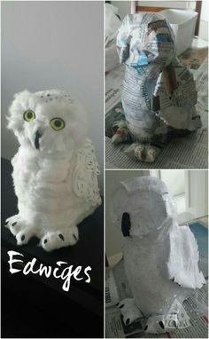 Coruja Edwiges DIY em papel machê e algodão - Harry Potter