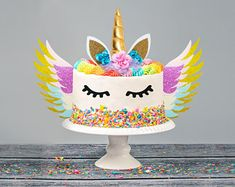 SALE Glittering Happy Birthday Cake Toppers | Etsy Dollar Bill Cake, Unicorn Birthday Decorations, Unicorn Centerpiece, Feather Cake, Birthday Accessories, Cake Pop Stands, Cake Works, Cake Pops How To Make, Fondant Cake Toppers