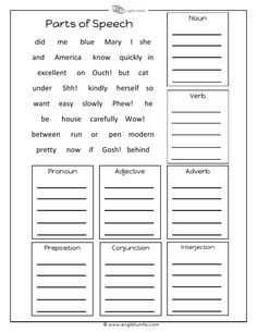 Sort the words into their correct boxes based on the parts of speech. This worksheet comes with an answer sheet. This resource comes with a single user license and may not be reproduced, resold, redistributed or altered in any form. Parts Of Speech Practice, Part Of Speech Grammar, Parts Of Speech Worksheets, Teaching English Grammar, English Worksheets For Kids, Grammar Lessons, 8 Parts Of Speech Activities, Grammar Activities, English Activities
