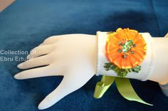 Ladies Ribbon Flower Embroidery Leather Cuff by RainbowJus on Etsy
