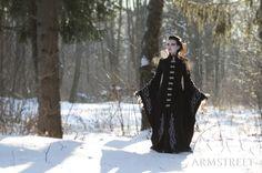 "Long Wool Gothic Coat ""Blackbird"". $522.00, via Etsy."