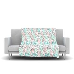 Ethnic Leaves Fleece Throw Blanket