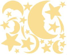 Moon and stars decals for nursery.  Found at wallstickeroutlet.com