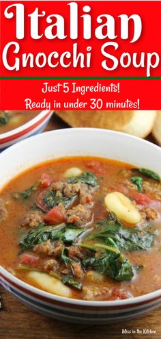 Spinach Soup Italian Gnocchi Soup is an easy dinner with just 5 ingredients and it can be on the table in under 30 minutes! Great weeknight dinner with Italian Sausage, Spinach and Gnocchi. Gnocchi Recipes, Easy Soup Recipes, Cooking Recipes, Healthy Recipes, Recipes Dinner, Keto Recipes, Endive Recipes, Cream Recipes, Kitchen Recipes