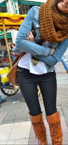 Black jeans, tied boots, & a jean jacket. ♥