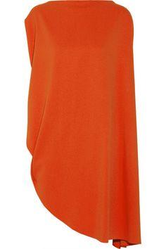 Orange piqué  Asymmetric, side split Slips on 51% viscose, 46% acetate, 3% elastane Dry clean Designer color: Flame