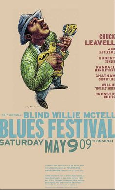 Vintage poster from the Blind Willie McTell Blues Festival in Thomson, GA www.blindwillie.com