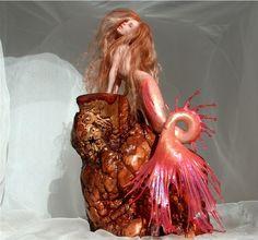 Fire Seadragon Mermaid by Nicole West. OOAK Doll.