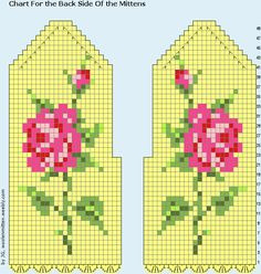 Tunesian crochet pattern for mittens with embroideret roses 2013-04-20, by Jolanta Gustafsson