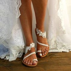 Pure color casual satin pattern slipper – Iount Sexy Lace Dress, Bare Foot Sandals, White Sandals, Lace Flowers, Fashion Prints, Pure Products, Heels, Wedding Shoes, Barefoot Sandals Wedding